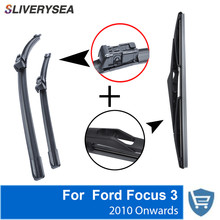SLIVERYSEA Front and Rear Wiper Blade no Arm For Ford Focus 3 Hatchback 2010-2016 High quality Natural Rubber Windscreen