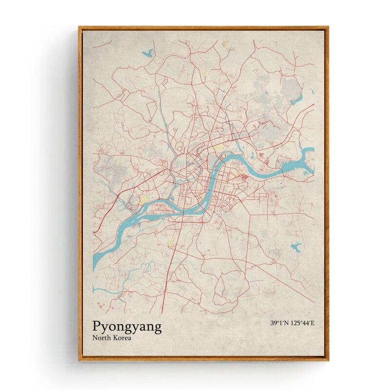 City Map Pyongyang North Korea Quebec City Canada Rennes France