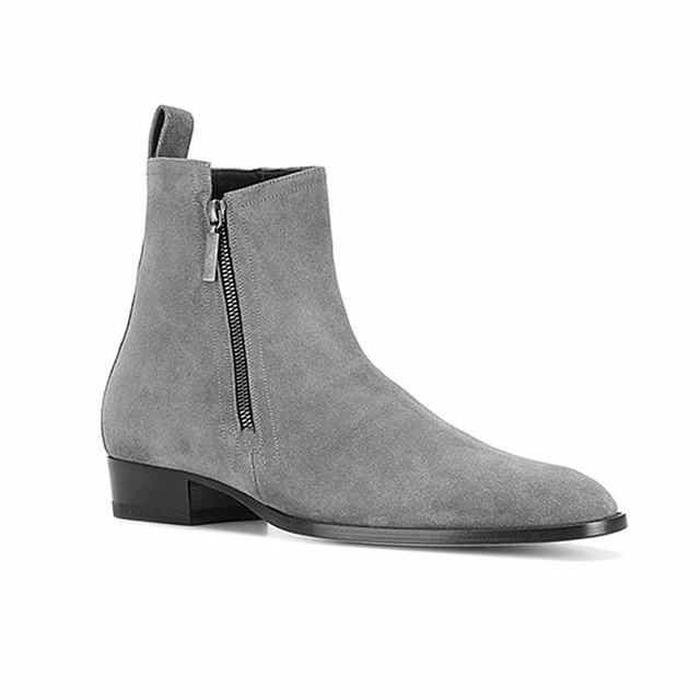 High Quality British Men Casual Shoes Spring Winter Fashion Lace-up Dress Ankle Boots Pointed Toe Real Leather Chelsea Boots