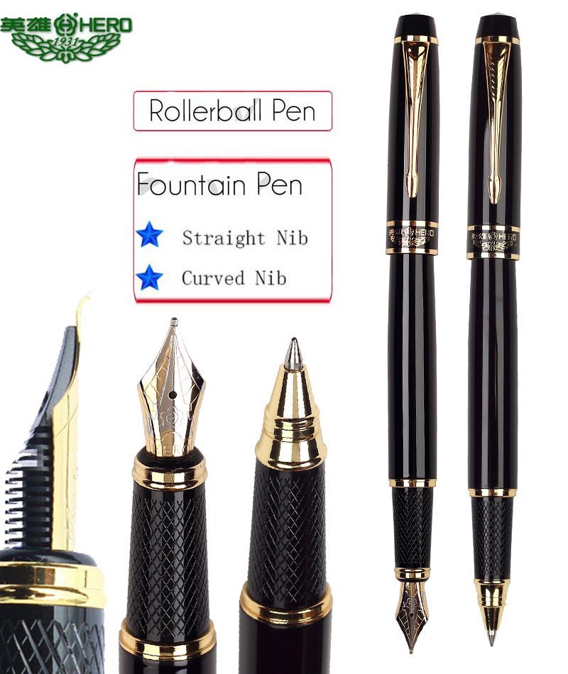 Calligraphy Curved nib or Straight nib Fountain pen or RollerBall pen HERO 7032 office and school  stationery  Free  Shipping calligraphy fountain pen curved nib hero 382 office and school top rated art pens free shipping
