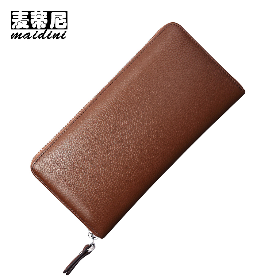 Genuine Leather Long Wallet Mens ID Cards Holders Male Clutch Bags Black Zipper Coin Purse For Phone Mens Cow Leather Wallets business men clutch bags classic wallet genuine leather male cell phone purse long style card holder clutch bags