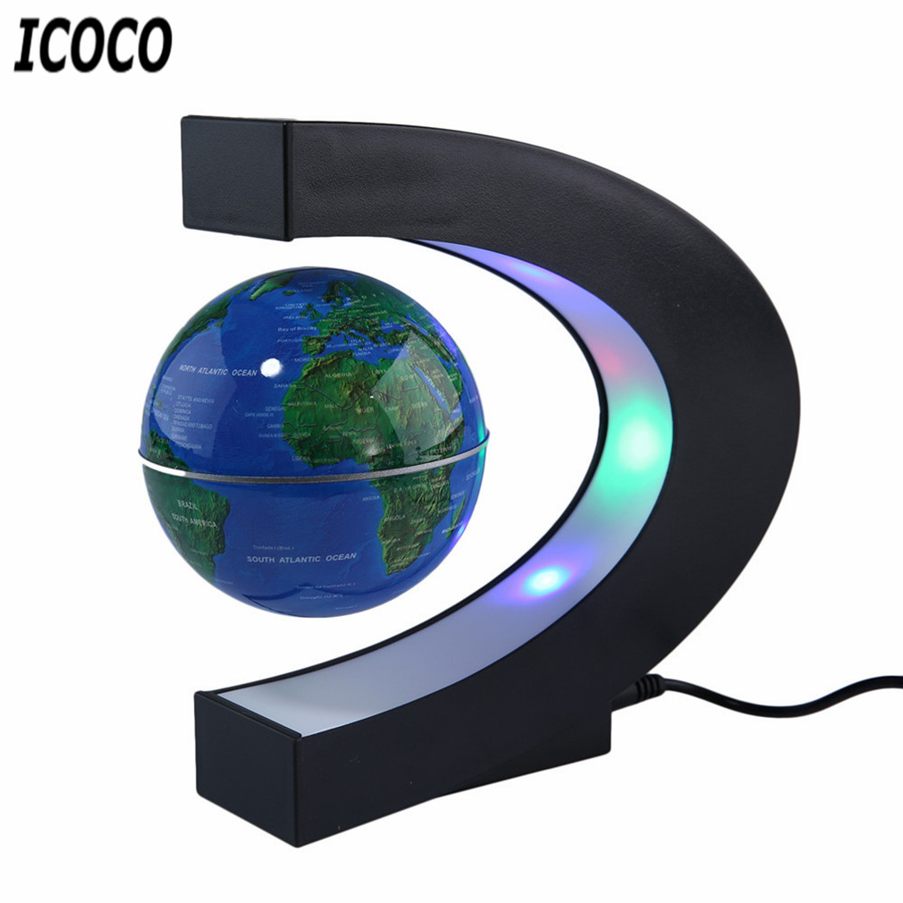 C Shape LED World Map Floating Globe Antigravity Magnetive Ball Light Magnetic Levitation Light Xmas Birthday Home Decoration