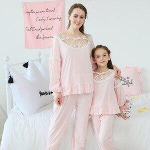 Image 5 - Summer Girls Pajama Sets Kids Sleepwear Cotton Lace Lantem Sleeve Home Clothes Children Nightgown Princess 90 170cm