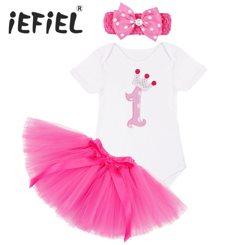 1 Year Birthday Dress for 1st First Baby Kid Girl Birthday Clothing Infant Princess Baby Girl Dress Party