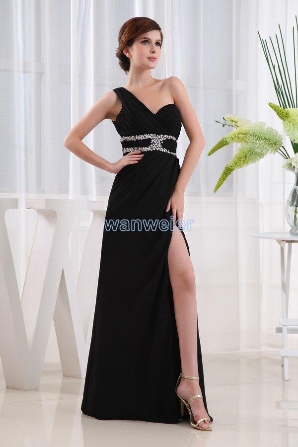 Livraison gratuite 2015 new design hot sexy backless maxi une épaule cristal côté long de la scission robe de bal noire robe de soirée