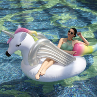 275cm Inflatable Rainbow Sea Horse Gaint Pool Float With Silver Wings Sunbathe Mat Unicorn Swimming Rings Beach Water Party Toys