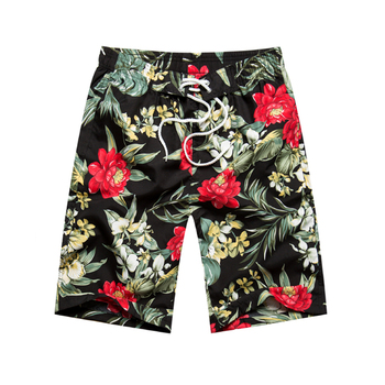 Men Summer Beach Flower Plaid Shorts 1