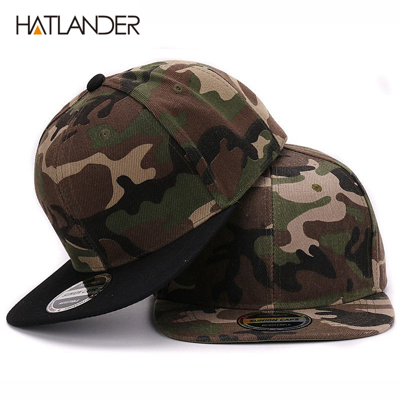 HATLANDER Camouflage snapback polyester cap blank flat camo baseball cap with no embroidery mens cap and hat for men and women