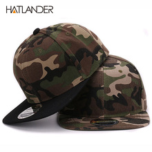 HATLANDER Camouflage snapback polyester cap blank flat camo baseball cap with no embroidery mens cap and