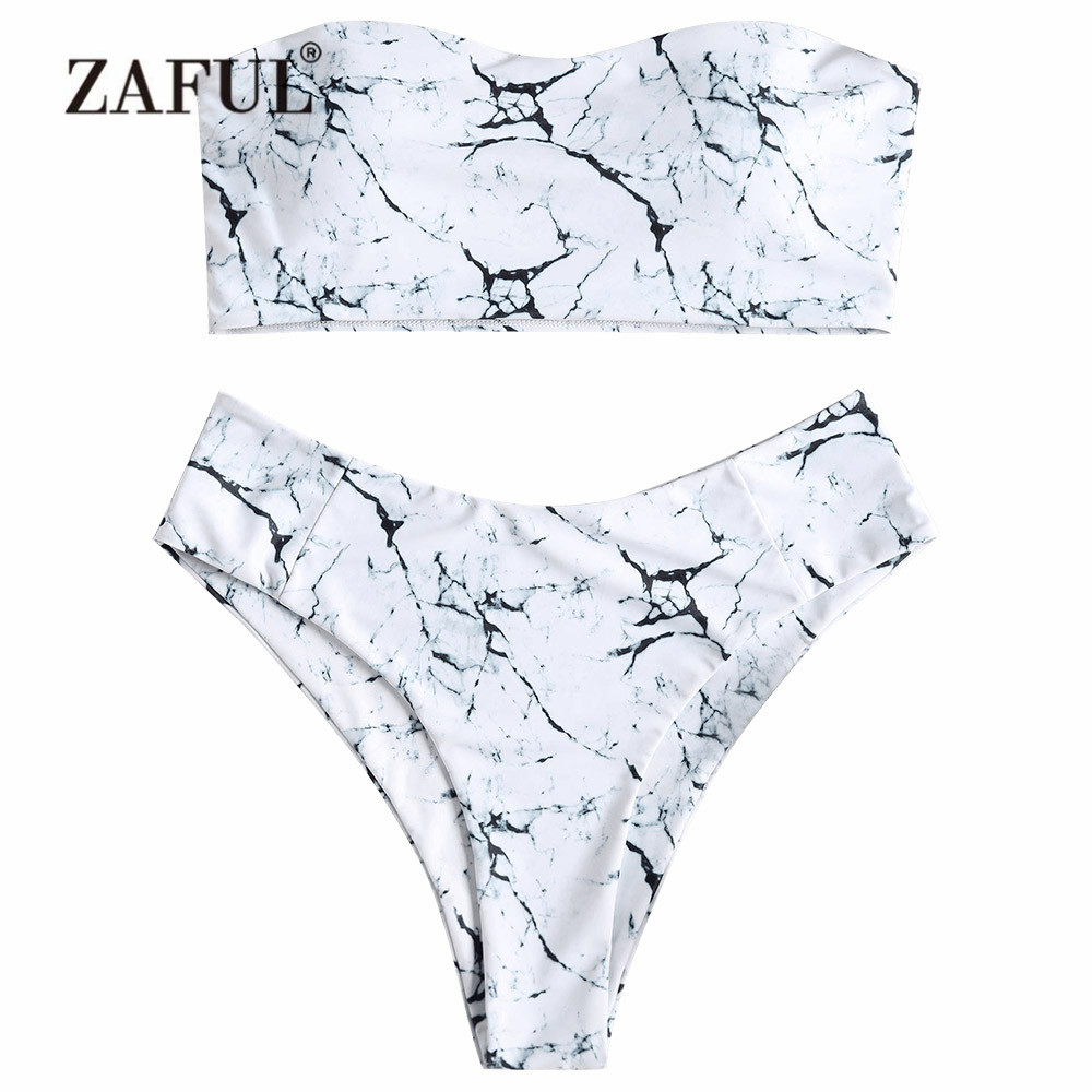 f646309127 Detail Feedback Questions about ZAFUL Plus Size Marble Bikini Swimwear Women  High Waist Swimsuit Sexy Straples Bandeau High Cut Swimsuit Padded Bathing  Suit ...