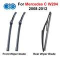 Front & Rear Pára Wiper Blades Para Mercedes Classe C W204 2008-2012 Brisas Acessórios Do Carro de Borracha de Silicone
