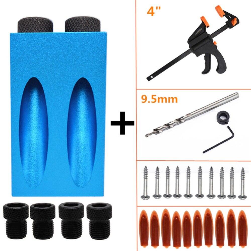 Tasche Loch Jig Kit 6/8/10mm Holzbearbeitung Winkel Drill Guide Set Loch Puncher Locator Jig Bohrer bit Set Für DIY Zimmerei Werkzeuge