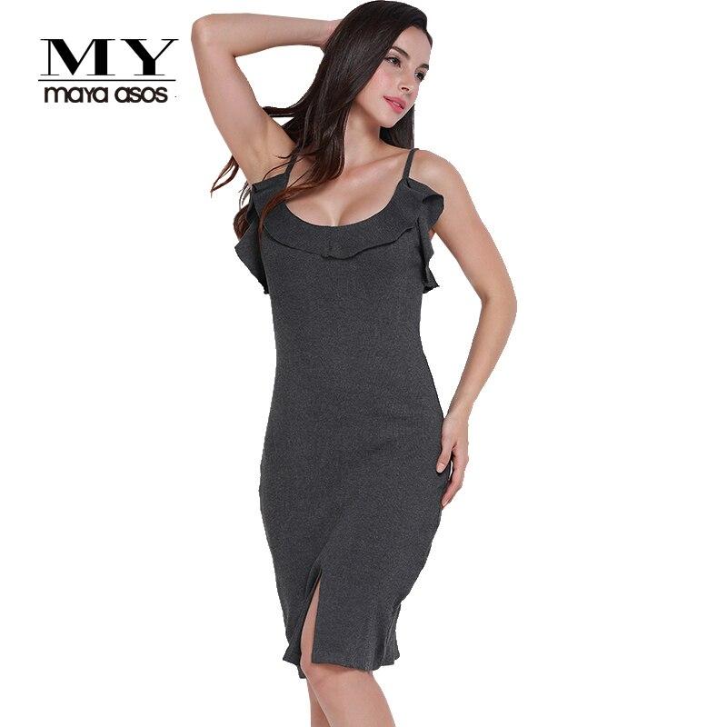 633087968947a US $28.41 |MY MAYAASOS Fashion Ruffles Midi Dress Women Sleeveless Off  Shoulder Female Strap Dress Sexy Backless Deep V neck Bodycon Dress-in  Dresses ...