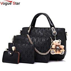 Vogue Star Women Bag Top-Handle Bags Female Famous Brand 2018 Women Messenger Bags Handbag Set PU Leather Composite Bag LB464