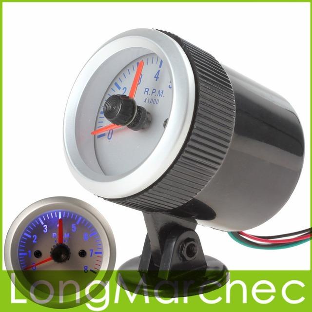 DC 12 V 57mm 0 ~ 8000 RPM Tacômetro Indicador RPM Medidor Com a Copa Suporte de Luz Azul Para O Automóvel carro Com 4, 6 Ou 8 Cilindros