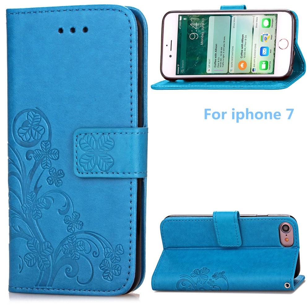 Luxusní PU kožené pouzdro na telefon pro iphone 7 (4,7 palce) s krytkou na karty 6 barevných možností modrá černá hnědá šedá fialová růže