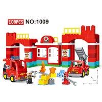 109 sztuk Dużych Bloków Miasta Ogień dział Pożarowe Bloki ustawione Dzieci DIY Cegły Zabawki Kreatywne Kompatybilny Duploe