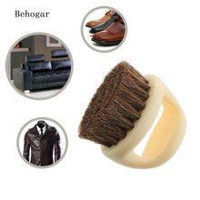 Behogar Portable Round Shaped Horse Hair Shoe Leather Shoes Shine Care Cleaning Polishing Dusting Home Cleaner Brush Tools(China)