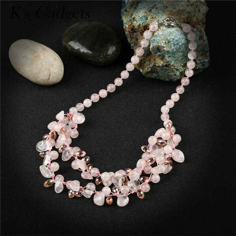 K's Gadgets Multilayer Stone Necklaces & Pendants Crystal Bead Chain Natural Stone Statement Necklace Women Jewellery Collares a suit of retro faux gem multilayer bead necklace and earrings for women