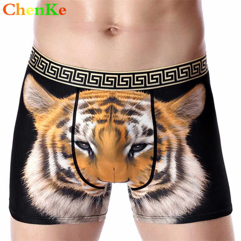 c25dfda76b ChenKe Mens Sexy Boxers Underwear Male Panties Milk silk Comfortable Breathable  Men Boxer Shorts Lion Tiger