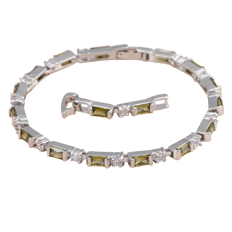 Fresh Olive green Crytal Delicate Style Silver filled Peridot Fashion jewelry Charm Bracelets for Anniversary TBS787A