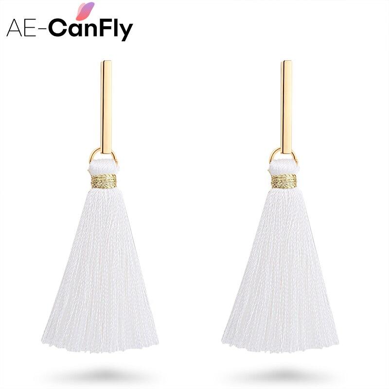 AE-CANFLY Simple Metal Dangle Earrings Black White Thread Tassel Pendant Drop Ear Jewelry 2A2017