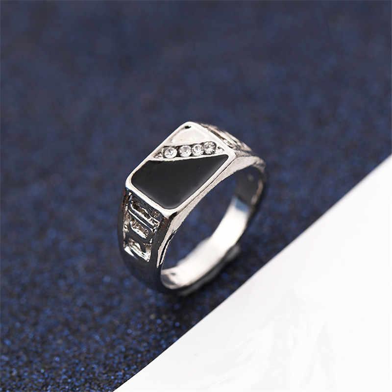 CC Ringe Für Männer Klassische Luxus Platz Mode Tropft Öl Ring Zirkonia Bräutigam Hochzeit Engagement Bijoux CC2131