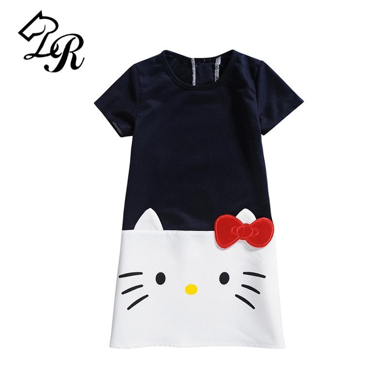 9 Color 2018 Summer Girl Dress Children Clothing Hello Kitty Printed Princess Dress Kids Baby Gilr Clothes Cotton Casual Dresses стоимость