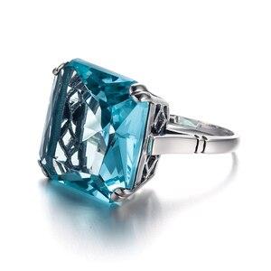 Image 3 - Szjinao תרשיש טבעת כסף 925 לנשים אמיתי 925 סטרלינג כסף בציר טבעות פנינה גדולה כחול אבן פיין תכשיטי חג המולד