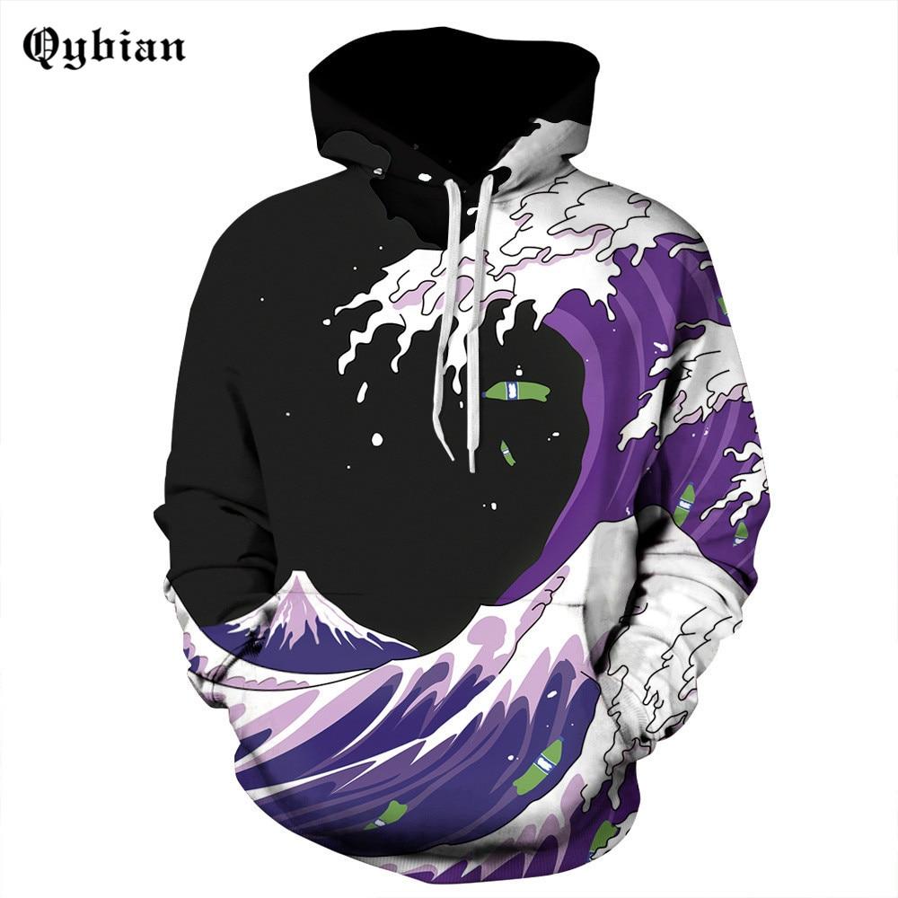 New Fashion Sweatshirt Funny Purple Wave 3d Men Women Hoodie Sea Ocean Printed Tracksuit Casual Sportswear Long Sleeve Pullover Men's Clothing