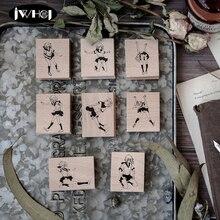 1 шт., японские серии для девочек, деревянные и резиновые штампы для скрапбукинга, канцелярские принадлежности для альбома, открытки ручной работы, штамп, фотоальбом, подарок для рукоделия