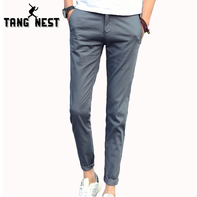 TANGNEST Casual Pantalon Homme 2017 New Pants Men Solid Color Straight Full Length Trousers Male Business Slim Pants MKX1012