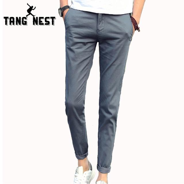 Tangnest pantalon homme 2017 nuevos pantalones de los hombres de color sólido ocasional recta pantalones largos masculinos pantalones delgados de negocios mkx1012