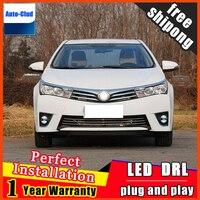 Car styling LED fog light for Toyota Corolla 2010 2016 LED Fog lamp with lens and LED day time running ligh for car 2 function