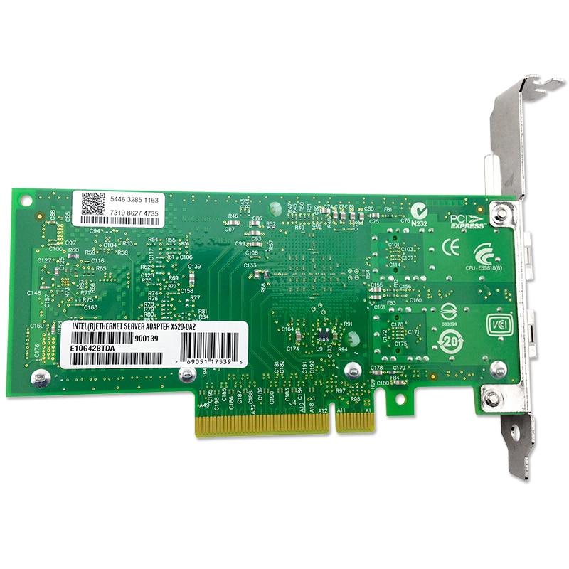 X520-SR2 10GBase PCI Express x8 82599ES Chip Dual Port Ethernet Network Adapter E10G42BFSR,SFP not included адаптер dell qlogic 2562 dual port 8gb fibre channel hba pci e x8 full profile kit 406 bbek