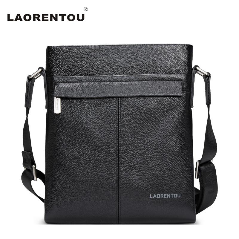 ФОТО Laorentou 100% Genuine Cow Leather Men Shoulder Bag For Business Casual Messenger Bag Multifunction Leather Crossbody Bag N53