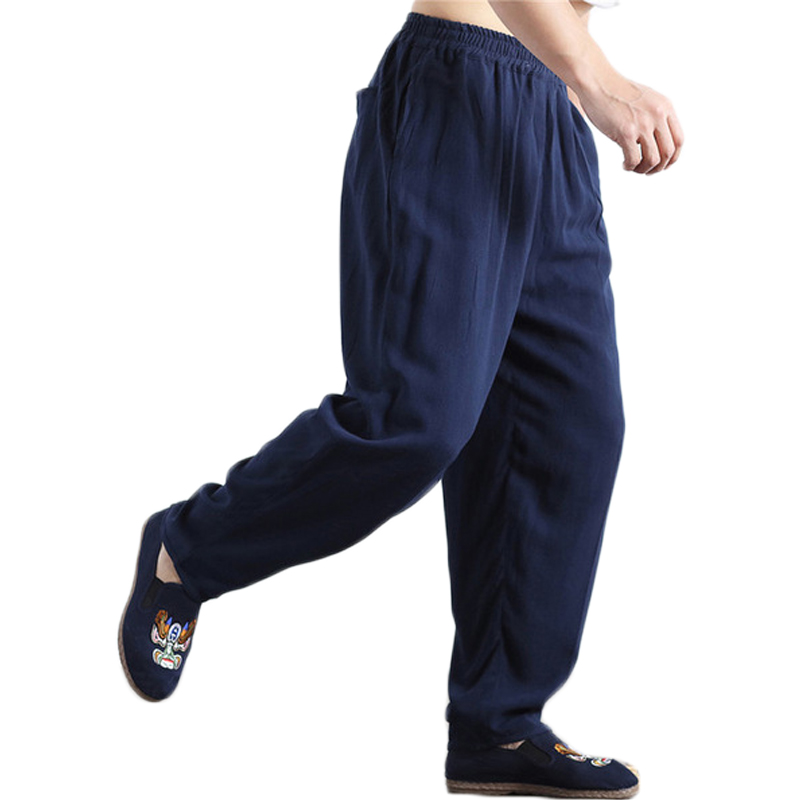 Hisenky Taille Élastique homme Lin Pantalon Sand Wash Kung Fu Tai Chi Uniforme Pantalon Décontracté Lin Bloomers Joggeurs pantalon
