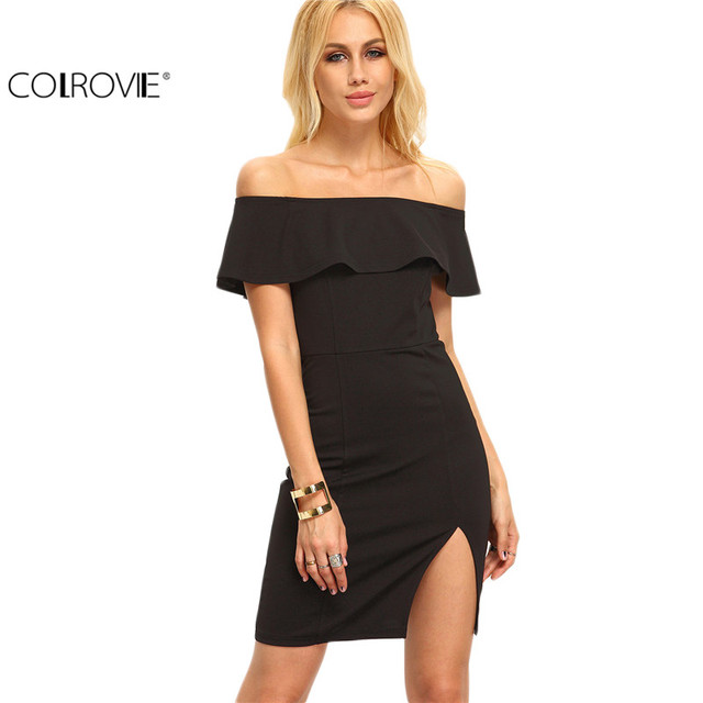 e739e9f89d4 COLROVIE Sexy Ladies Black Off The Shoulder Ruffle Split Sheath Mini Dress  Female Short Sleeve Bodycon
