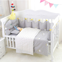 Conjunto de ropa de cama de bebé con forma de corona 3D, juego de ropa de cama de cuna recién nacido de 5 piezas, 18 colores, ropa de cama de algodón suave para bebés sábana para cama