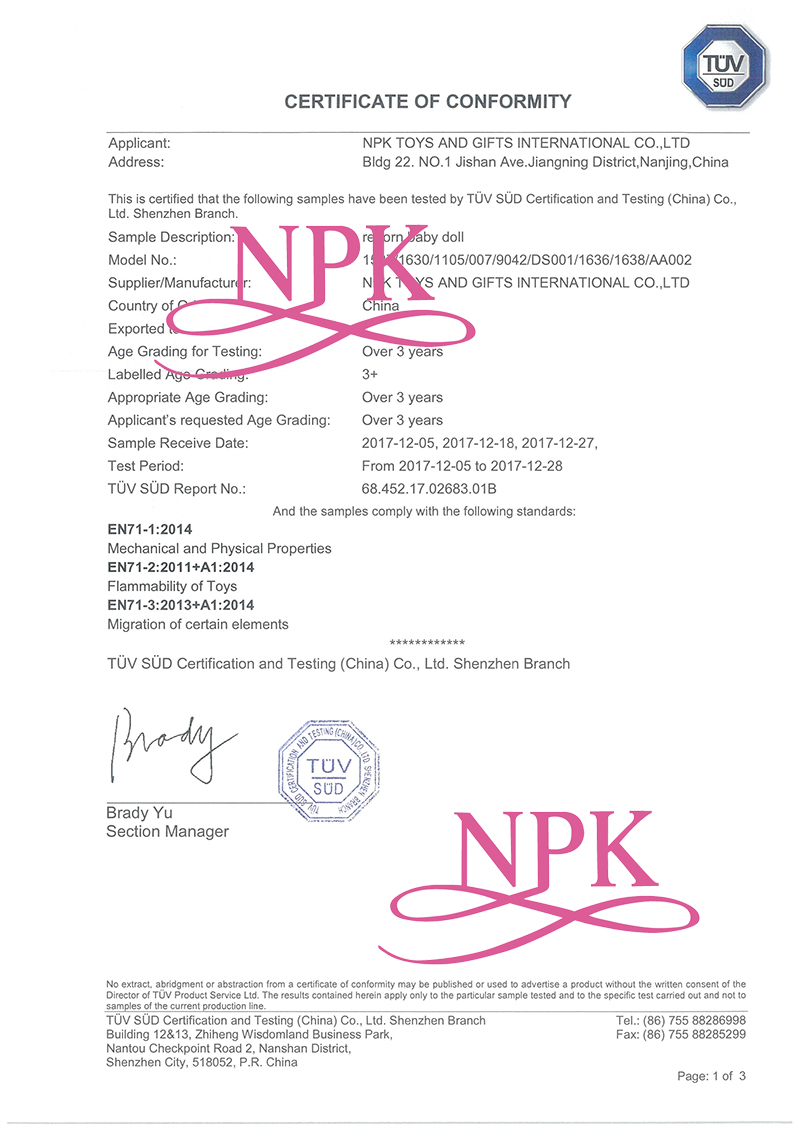 NPK COC with picture EU- CERTIFICATE OF CONFOMITY
