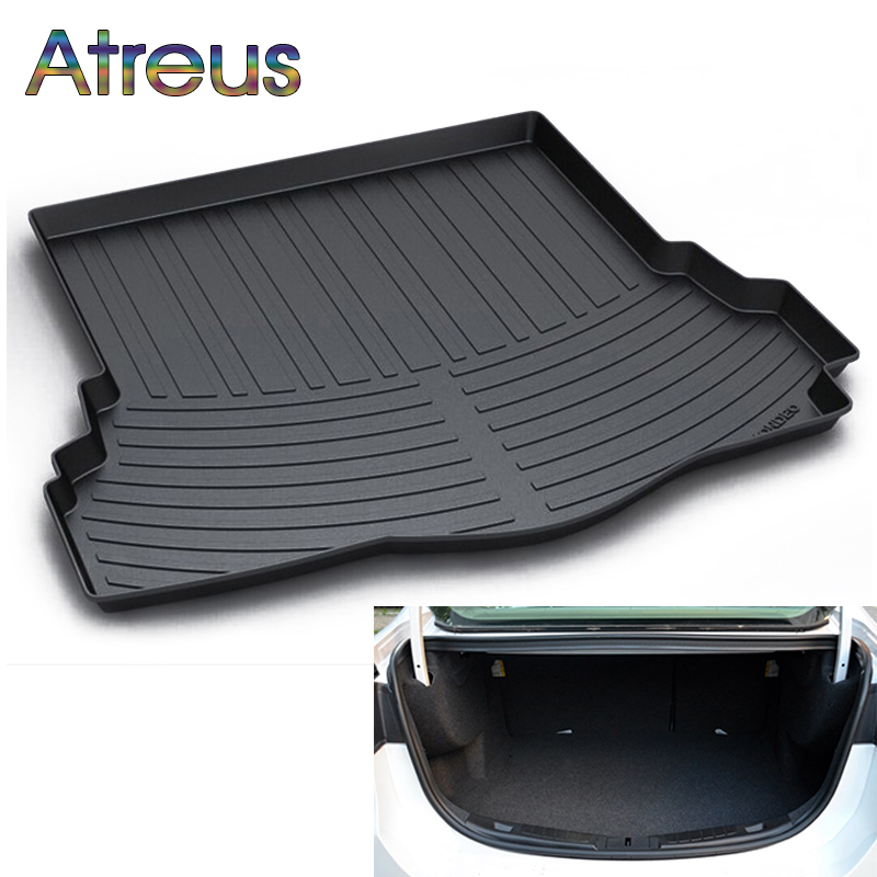 Atreus Car Rear Trunk Floor Mat Durable Carpet For Ford Mondeo MK5 2012-2017 2018 Boot Liner Tray Waterproof Anti-slip mat trunk mat for ford mondeo 2008 2014 durable waterproof luggage mats tray for dogs