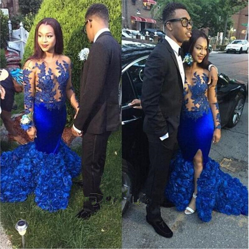 6ad07a100cd0 Royal Blue Satin Mermaid Split Prom Gowns 2017 Sexy Illusion Long Sleeves  Appliques African Evening Dresses For Formal Party-in Evening Dresses from  ...