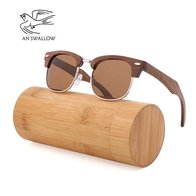 AN SWALLOW new fashion retro bamboo sunglasses half frame simple polarized UV400 unisex