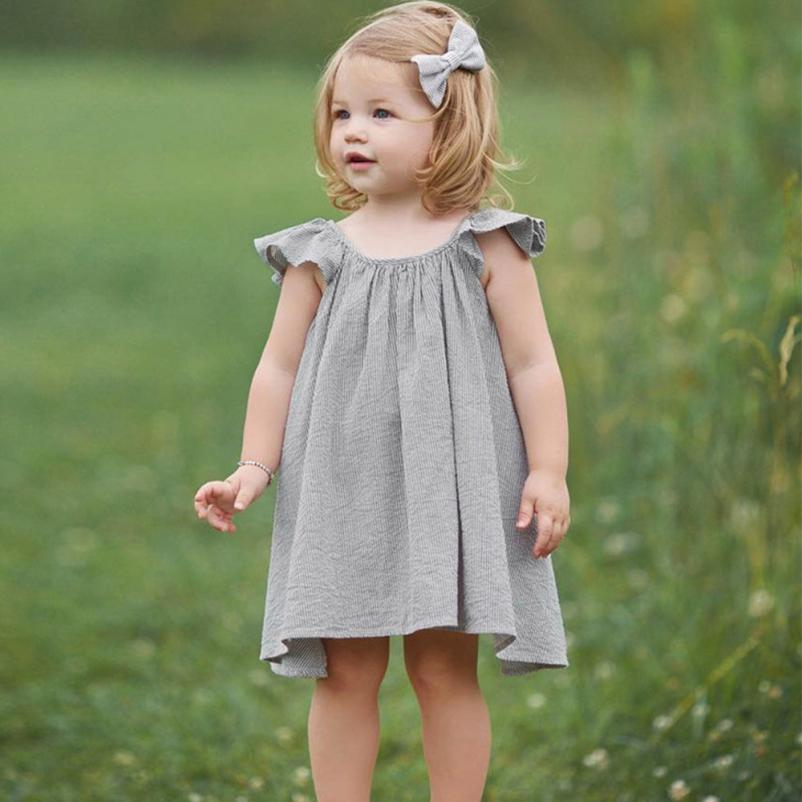 MUQGEW Beach striped summer dress baby girls Kids clothes Sleeveless princess dress 2018 Vestidos Children unicorn party dresses