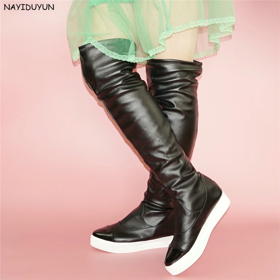 NAYIDUYUN    Women Wedge High Heel Point Toe Over The Knee High Boots Pull On Long Sneakers Party Oxfords Punk Platform Creepers 3 serier carbon fiber rear diffuser spoiler for bmw e92 e93 m sport coupe convertible 2005 2011 335i grey frp new style