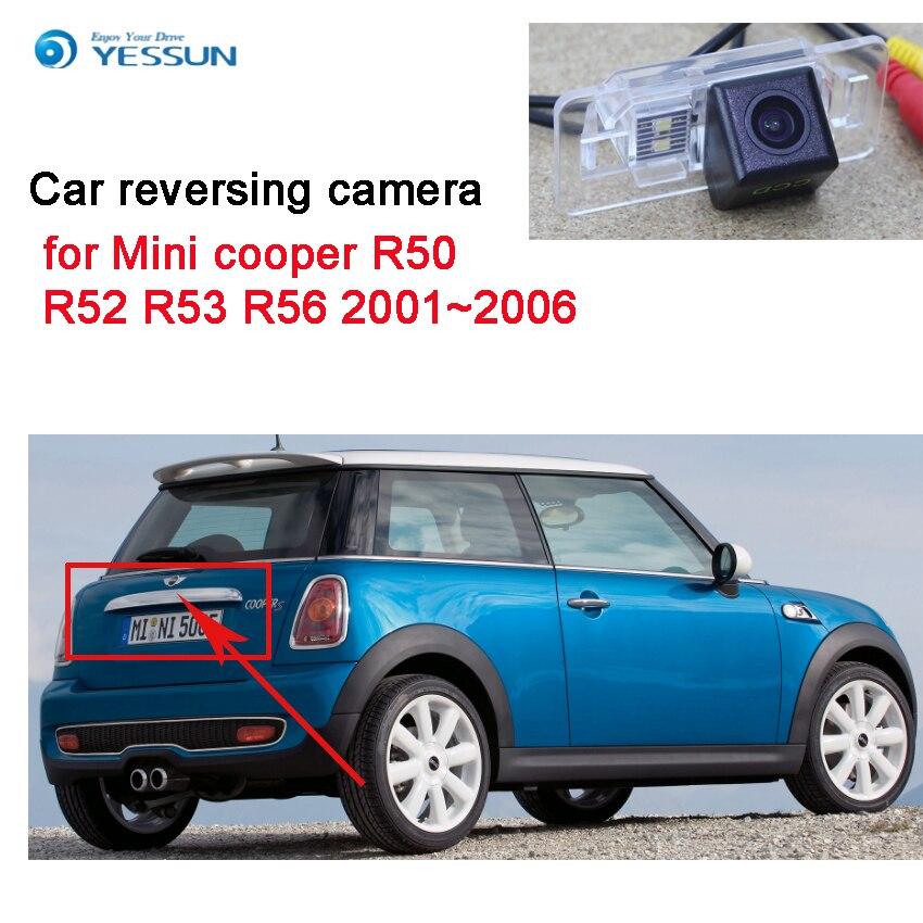 Yessun câmera de estacionamento de carro, câmera traseira, para mini cooper r50 r52 r53 r56 2001 ~ 2006 ccd hd, visão noturna câmera reversa de backup à prova d'água