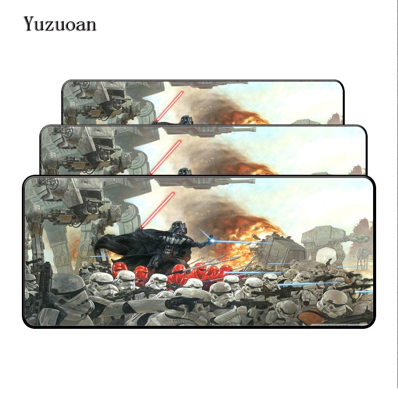 Yuzuoan Hot Movie Star Wars Darth Vader Style Big Speed Game Gaming Overlock Edge Mouse Mice for PC Laptop Rubber Mats As Gift image