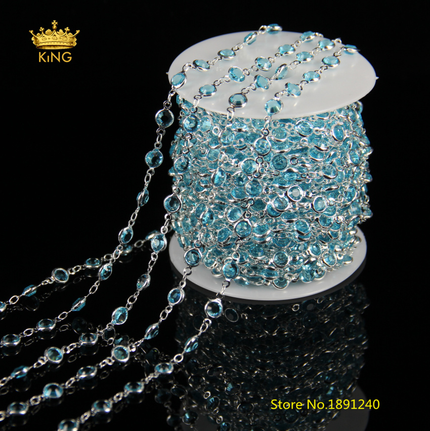 5meters Fashion Glass Chains Findings Sky Blue Glass Faceted Coin Beaded Chain Wire Wrapped with Silver