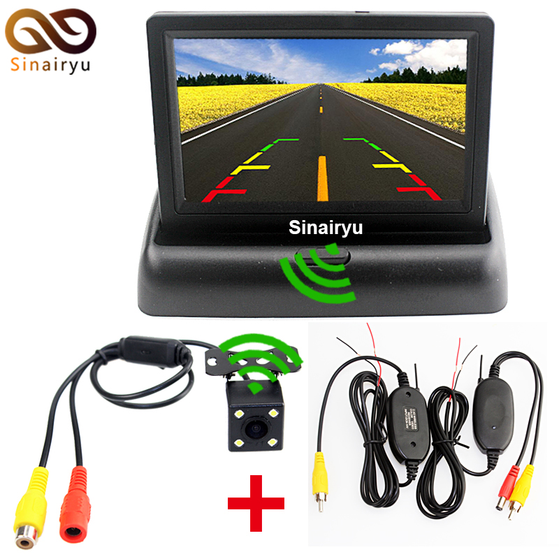 Sinairyu 3 in 1 Wireless Car Parking Assistance Wireless + 4.3 Folder Car Monitor +Night ...