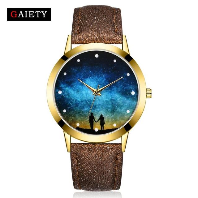 Fashion Starry Watch Women Men Sequins Moon Clock Hands Faux Leather Quartz Wrist Watch Ladies Gift Drop Shipping 4/